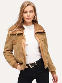 Faux Leather Trim Teddy Jacket
