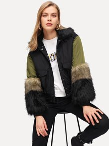 Faux Fur Detail Hooded Puffer Coat