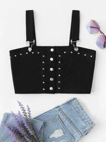 Rivet Decoration Crop Top