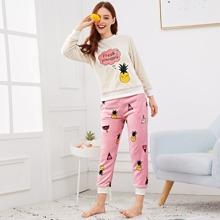 Pineapple Embroidered Fluffy Pajama Set