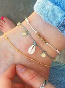 Shell & Disc Detail Chain Anklet Set 3pcs