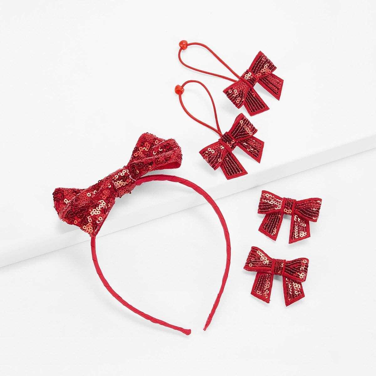 Enfant Ensemble d'accessoires à cheveux pailletés décorés de nœud papillon 5 Pièces