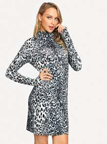 Mock-Neck Leopard Print Dress