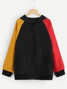 Plus Raglan Sleeve Colorblock Jacket