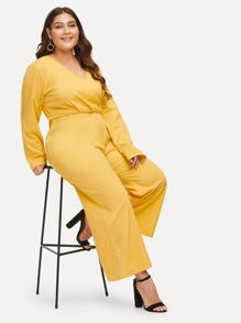 Plus Wrap Front Wide Leg Jumpsuit