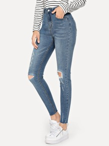 Cut Out Frayed Trim Jeans