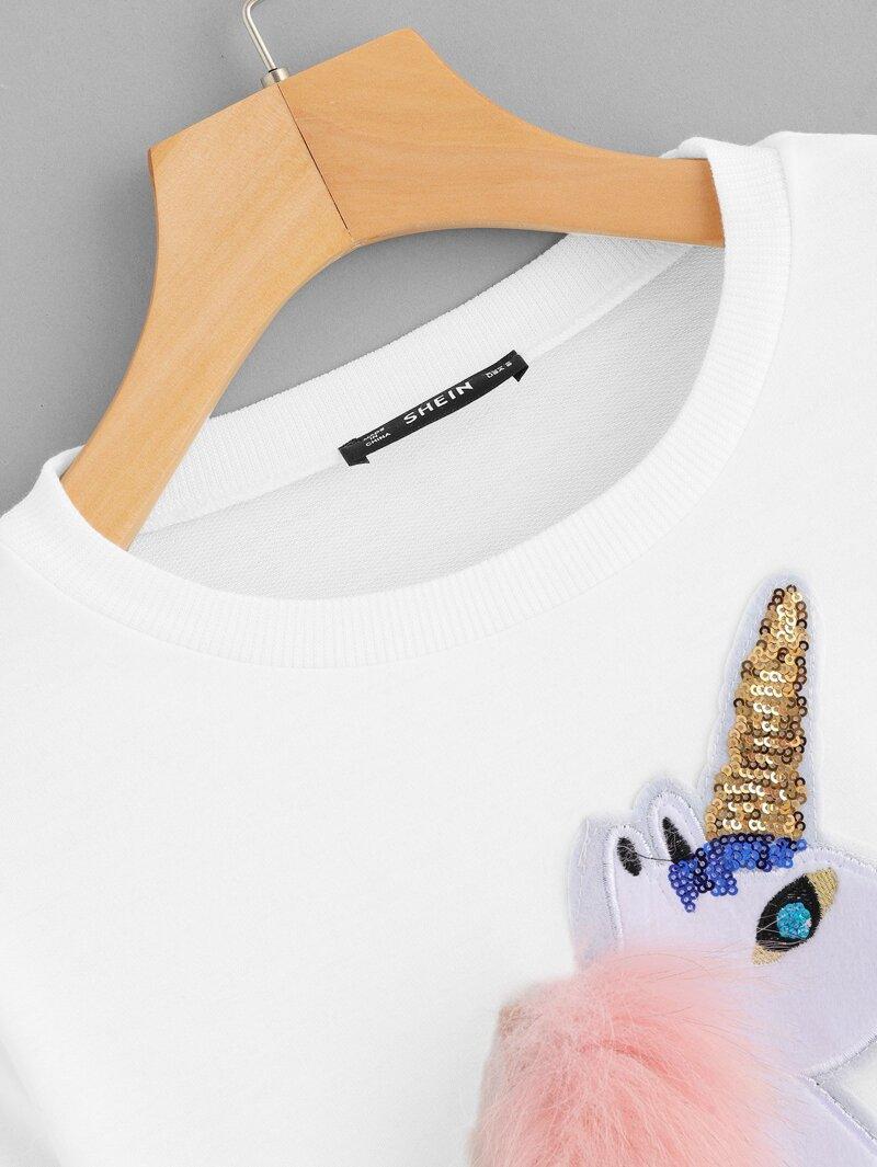 8537549fc3ddb8 Sudadera aplique con unicornio de cuello redondo
