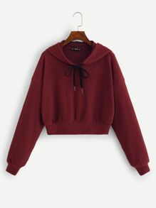 Drop Shoulder Textured Hoodie