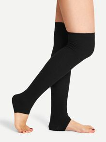 Solid Over The Knee Open Toe Socks