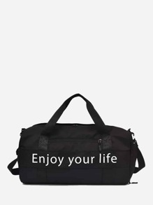 Slogan Print Duffle Bag
