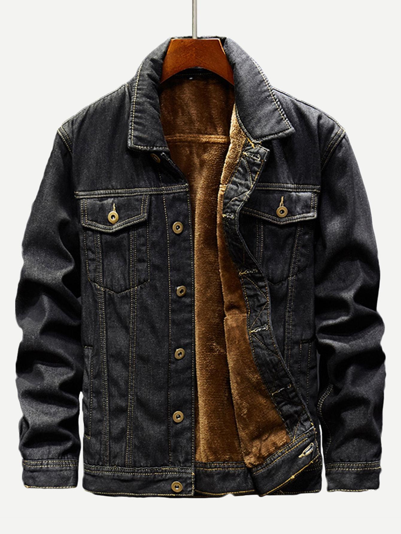 Men Fleece Lined Denim Jacket