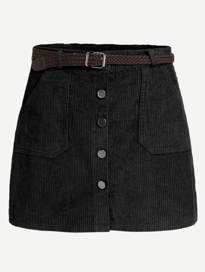 Corduroy Single Breasted Skirt With Belt