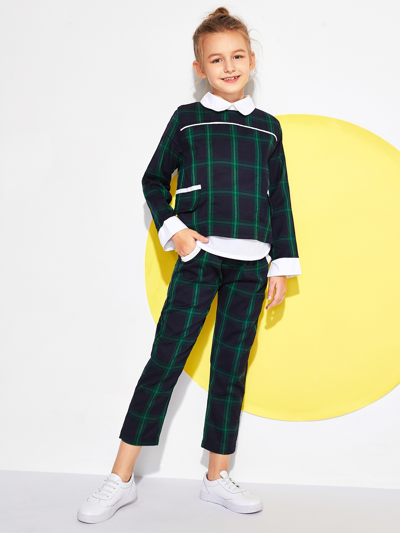 Boys Zip Back Plaid Top With Pants Boys Zip Back Plaid Top With Pants