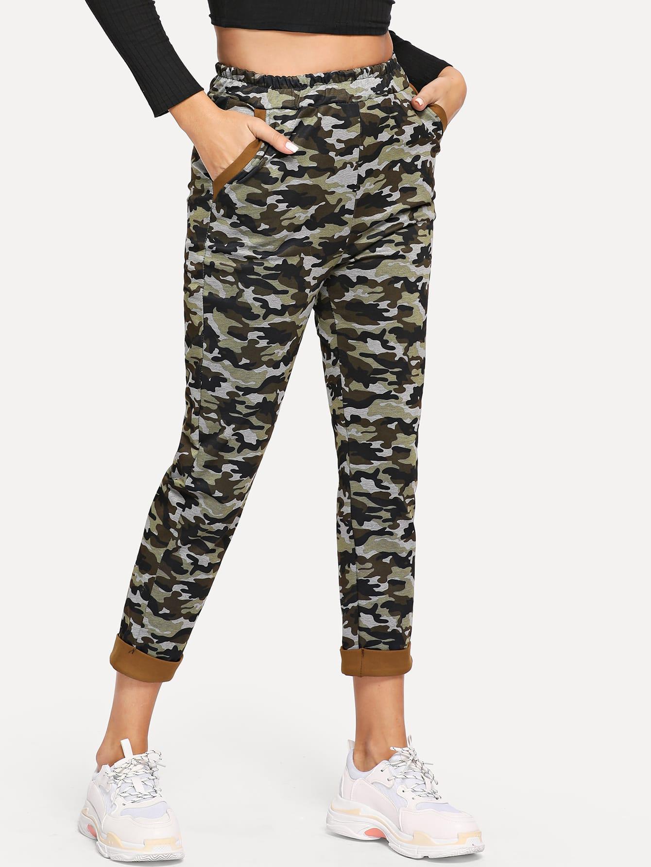 Camouflage Print Elastic Waist Pants Camouflage Print Elastic Waist Pants