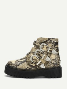 Snakeskin Print Buckle Decor Boots