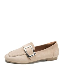 Buckle Decor Suede Flats