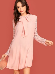 Tie Neck Lace Sleeve Pleated Dress