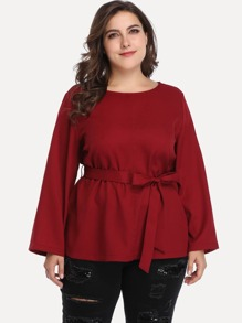 Plus Solid Belted Blouse