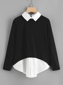 Plus 2 In 1 Colorblock Blouse