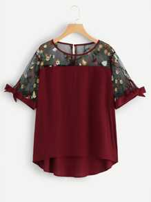 Plus Flower Embroidered Mesh Contrast Tie Detail Blouse