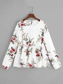Plus Floral Pattern Ruffle Hem Blouse