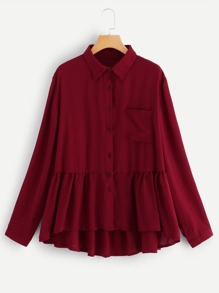 Plus Ruffle Hem Solid Shirt