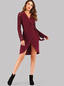 Guipure Lace Sleeve Self Tie Wrap Dress