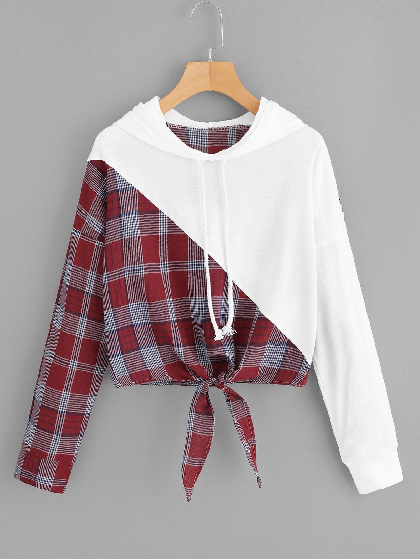 Knot Hem Contrast Panel Plaid Hooded Sweatshirt Knot Hem Contrast Panel Plaid Hooded Sweatshirt