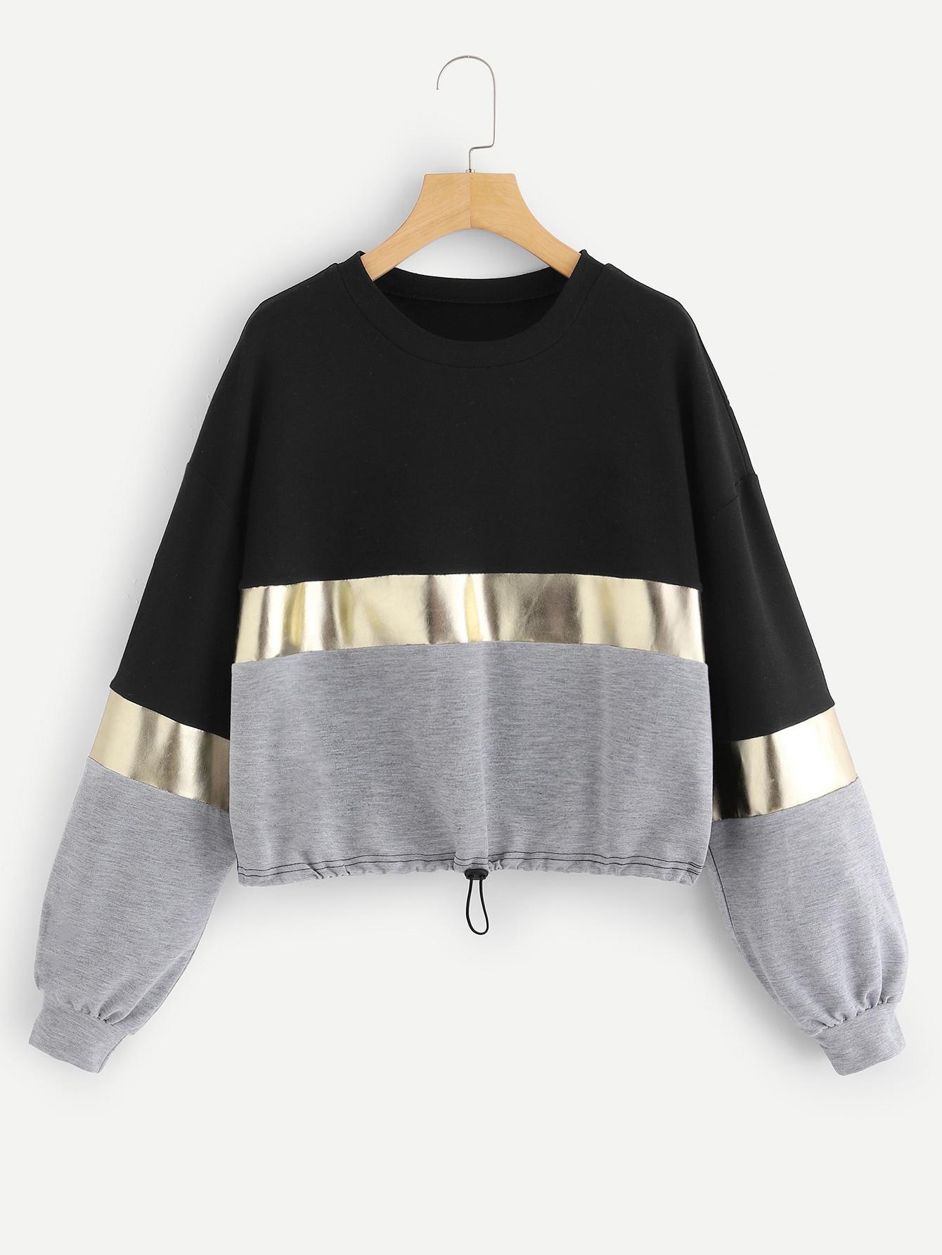 Cut And Sew Panel Drawstring Hem Sweatshirt Cut And Sew Panel Drawstring Hem Sweatshirt