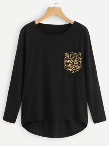 Cheetah Print Pocket Tee