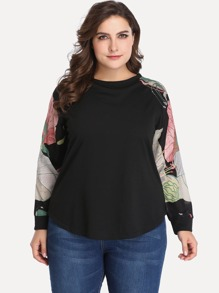 Plus Floral Print Sleeve Contrast Dolphin Hem Top