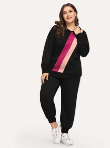 Plus Stripe Sweatshirt & Stripe Side Sweatpants