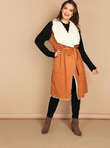 Plus Self Belted Pocket Side Faux Shearling Vest
