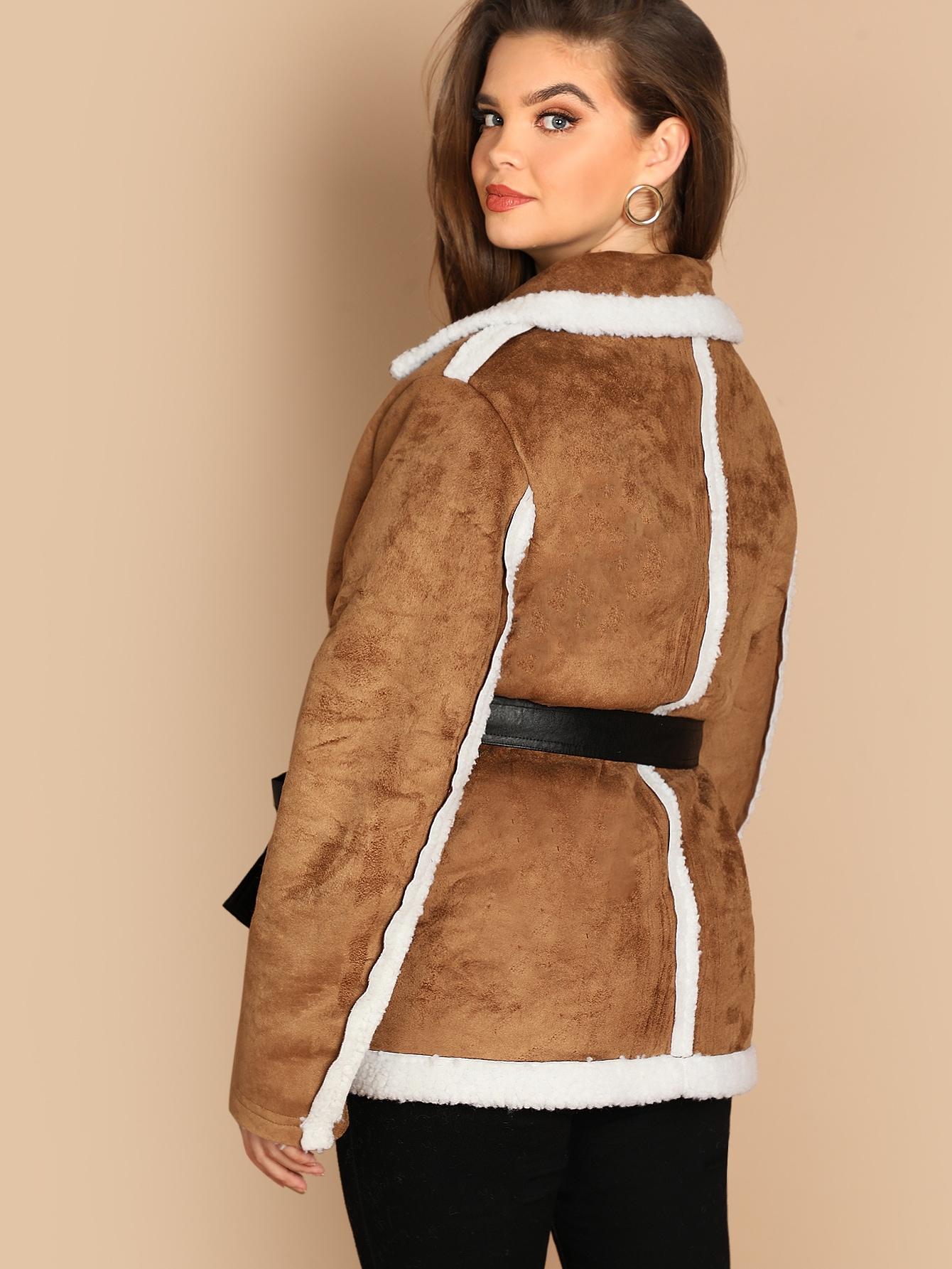 manteau en imitation peau de mouton avec n ud shein. Black Bedroom Furniture Sets. Home Design Ideas