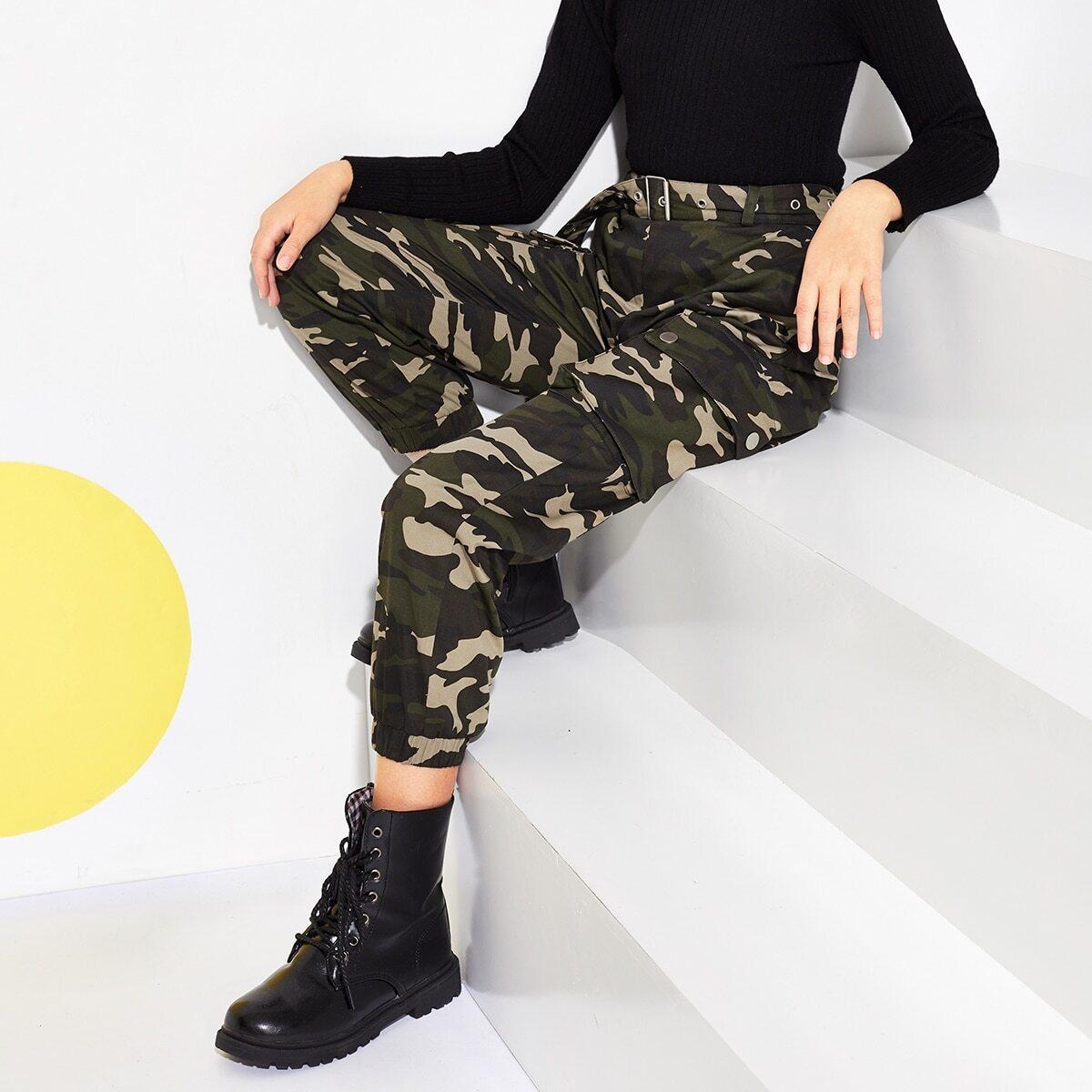 Камуфляжные брюки с карманом для девочек