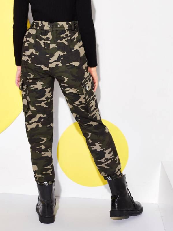 Imprimé Avec Ceinture Camouflage Pantalon Et eHWDEIY29