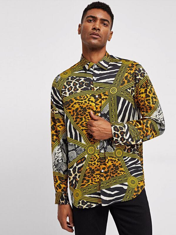 Shein Men Mixed Animal Print Shirt