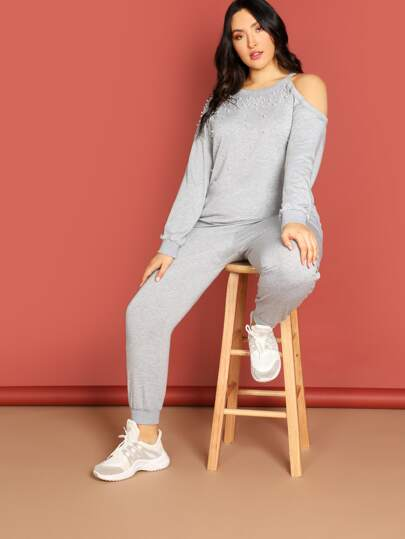 Plus Pearl Beaded Cold Shoulder Pullover & Sweatpants Set