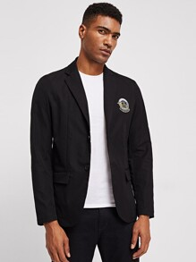 Men Pocket Front Notch Neck Blazer