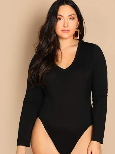 Plus Slim Fitted Solid Bodysuit