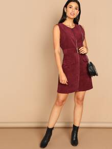 Zip Through Corduroy Utility Dress With Buckle Belt