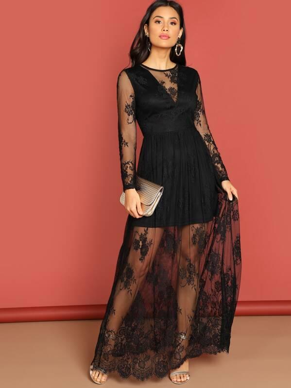 ebadb85125 V Cut Mesh Overlay Maxi Dress   SHEIN UK