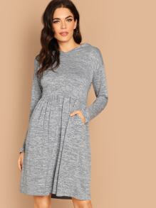 Pocket Front Heathered Knit Hooded Dress