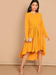 Tie Waist Dip Hem Dress