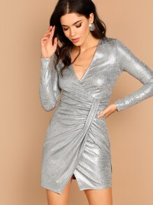 Twist Front Surplice Wrap Metallic Dress