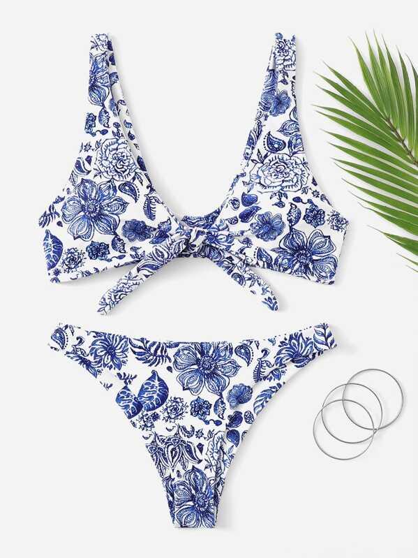 36dfed8203 Random Floral Knot Front Top With Cheeky Bikini Set | SHEIN