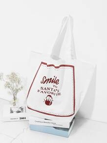 Christmas Slogan Print Tote Bag