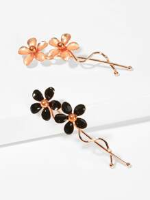 Flower Decorated Hair Clip 2pcs