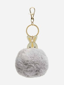 Rabbit Decorated Faux Fur Keychain