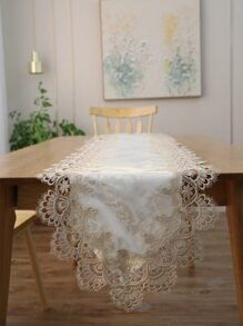 Contrast Lace Tassel Table Runner